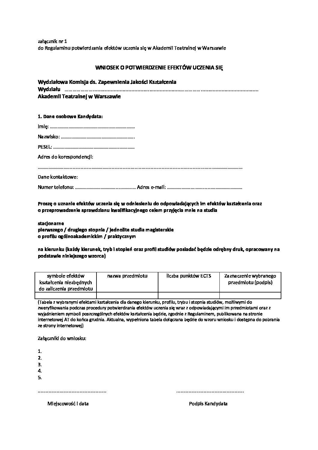 załącznik nr 1_wniosek o wszczecie procedurypotwierdzania efektow uczenia sie 15 04_2015