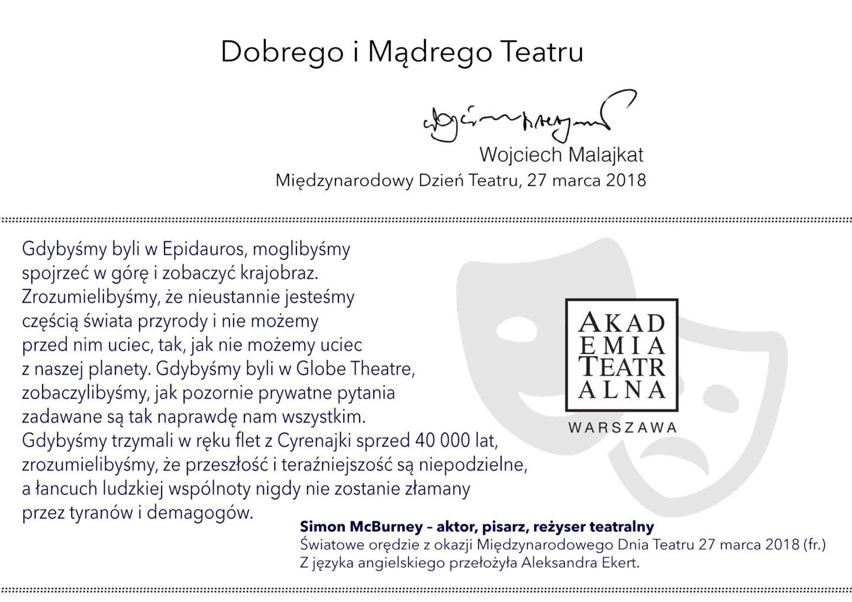 27 marca <br> Międzynarodowy Dzień Teatru