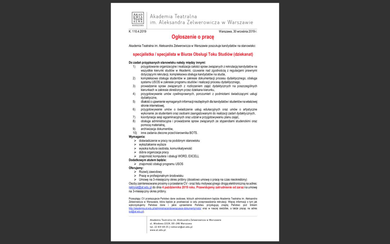 Poszukujemy kandydatów nastanowisko: specjalistka / specjalista wBiurze Obsługi Toku Studiów (dziekanat)