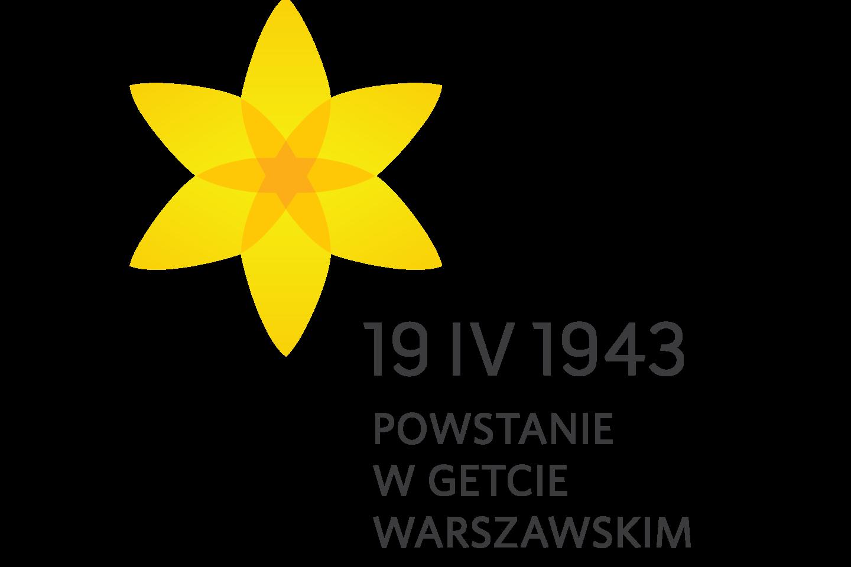 """Na białym tle graficzny symbol przedstawiający żonkila. Poniżej, obok czarny napis """"19 IV 1943 POWSTANIE W GETCIE WARSZAWSKIM"""""""