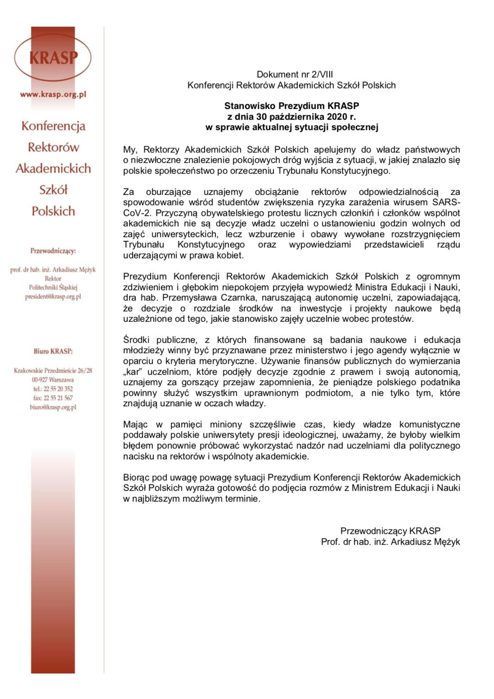 Stanowisko Prezydium KRASP zdnia 30 października 2020 r. wsprawie aktualnej sytuacji społecznej (link)