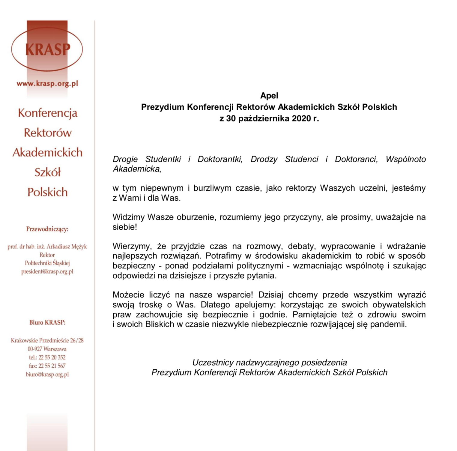 Apel Prezydium Konferencji Rektorów Akademickich Szkół Polskich z30 października 2020 r. (link)