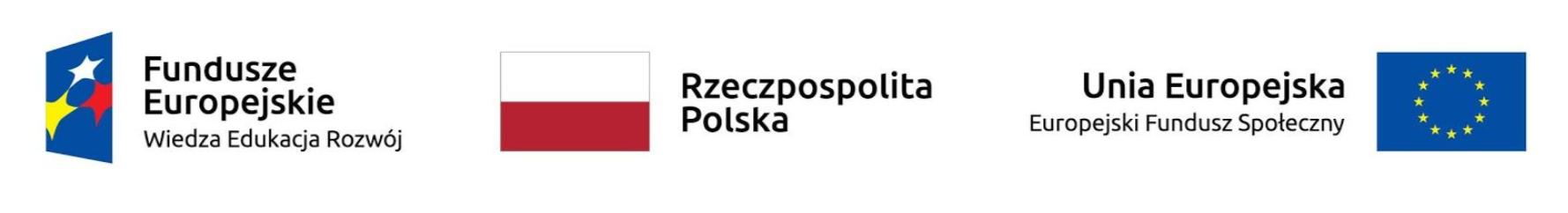 Logo Funduszy Europejskich (Wiedza Edukacja Rozwój), Flaga RP, Flaga UE