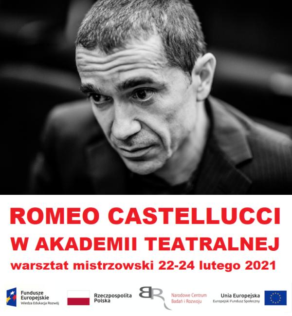 Romeo Castellucci - plakat warsztatu zczarno-białym portretem artysty