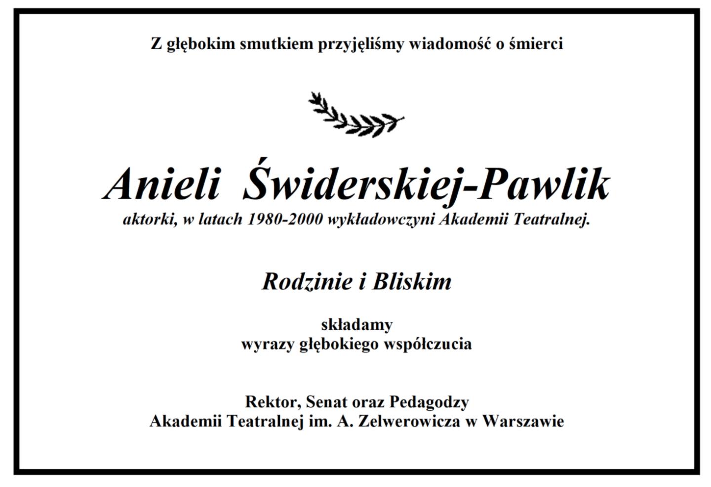 Żegnamy <br> Anielę Świderską-Pawlik