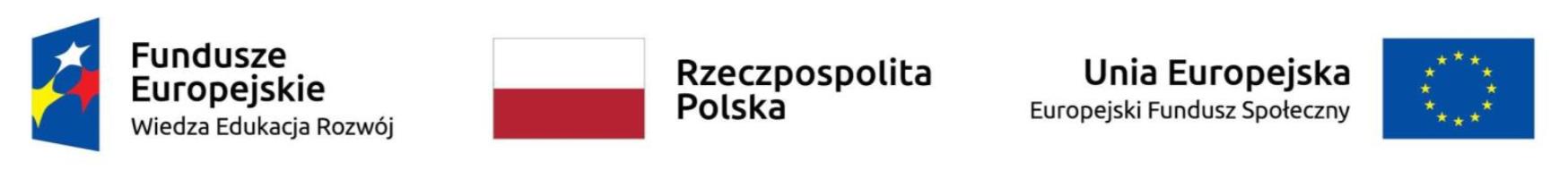 Logo: Fundusze Europejskie - Wiedza Edukacja Rozwój; Rzeczpospolita Polska; Unia Europejska - Europejski Fundusz Społeczny