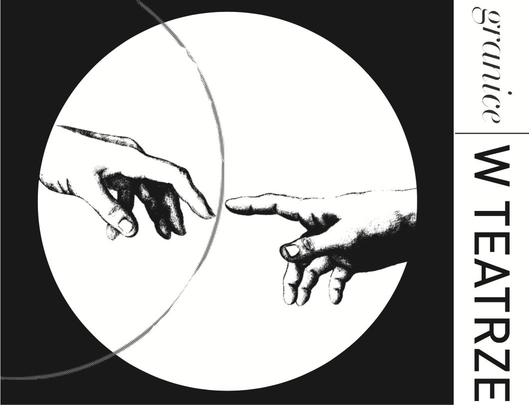 Logo projektu. W białym kole umieszczonym na czarnym tle, umieszczono dłonie z fresku STWORZENIE ADAMA. Pomiędzy dłoniami przebiega kreska. Obok na białym tle napis