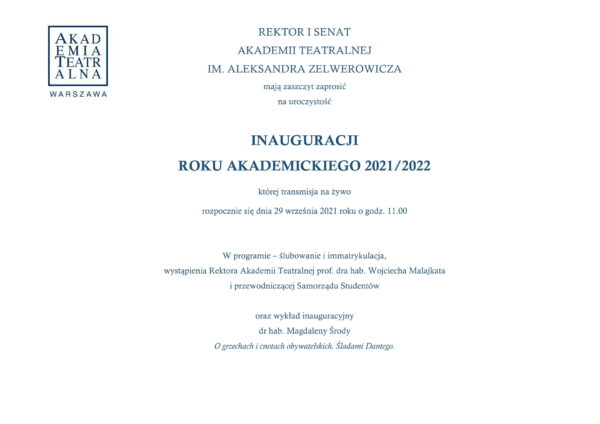 Inauguracja roku akademickiego 2021-2022