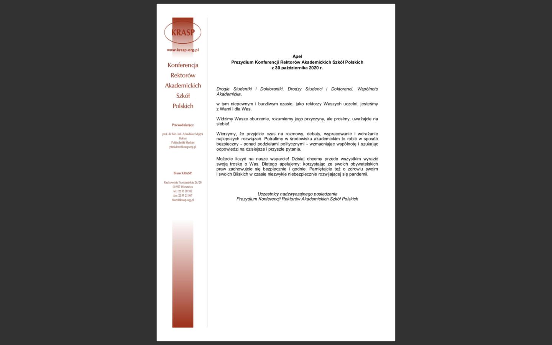 Apel Prezydium Konferencji Rektorów Akademickich Szkół Polskich z30 października 2020 r.