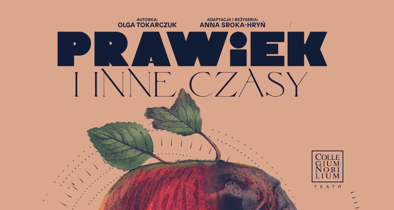 Fragment plakatu spektaklu: na łososiowym tle tytuł, a poniżej fragmen czerwonego jabłka z listkiem przy ogonku