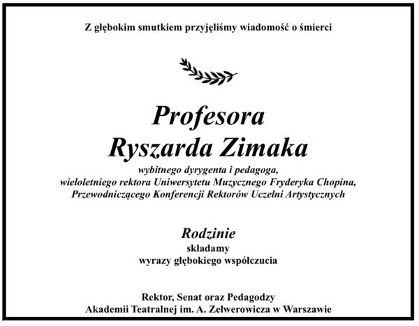 Żegnamy profesora Ryszarda Zimaka
